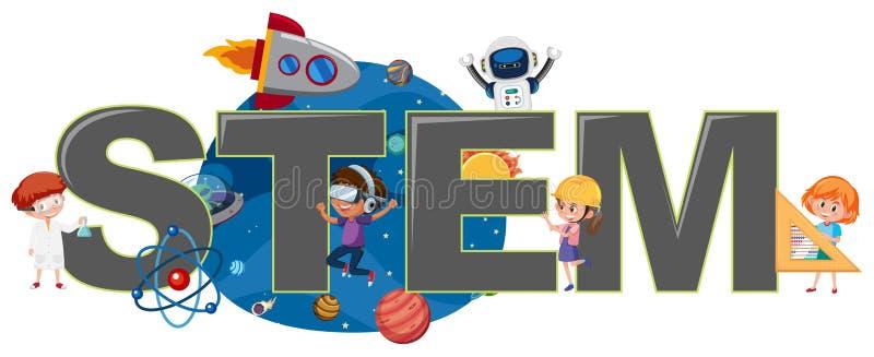 Enfants avec le logo de TIGE illustration de vecteur