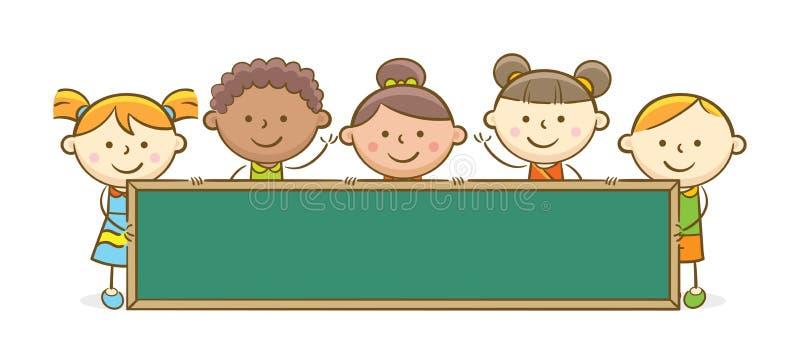 Enfants avec le tableau illustration de vecteur