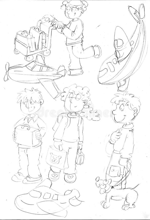 Enfants avec les avions, les croquis et les croquis et les griffonnages de départ de crayon illustration de vecteur