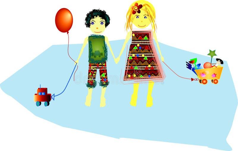 Enfants avec leurs jouets illustration libre de droits