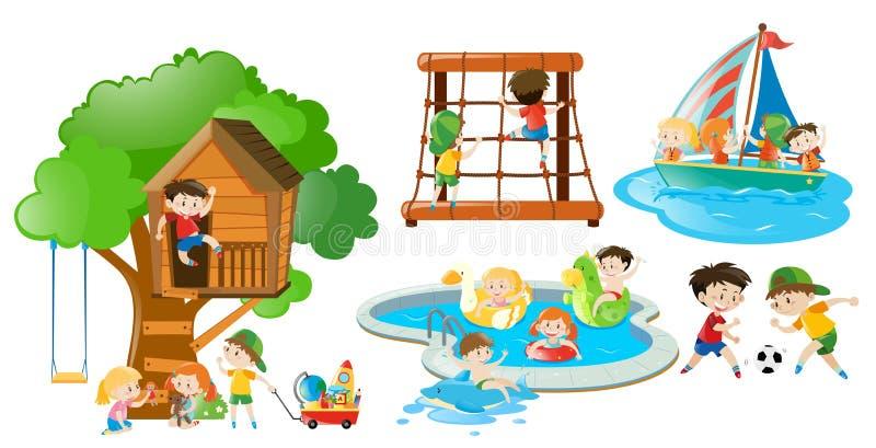 Enfants ayant l'amusement faisant différentes activités illustration stock