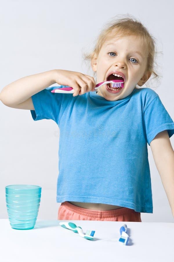 Enfants brossant des dents images libres de droits