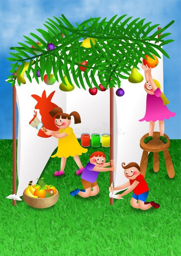 Enfants célébrant le festin de Succot illustration stock