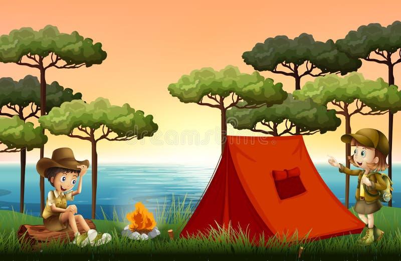 Enfants campant en nature illustration de vecteur