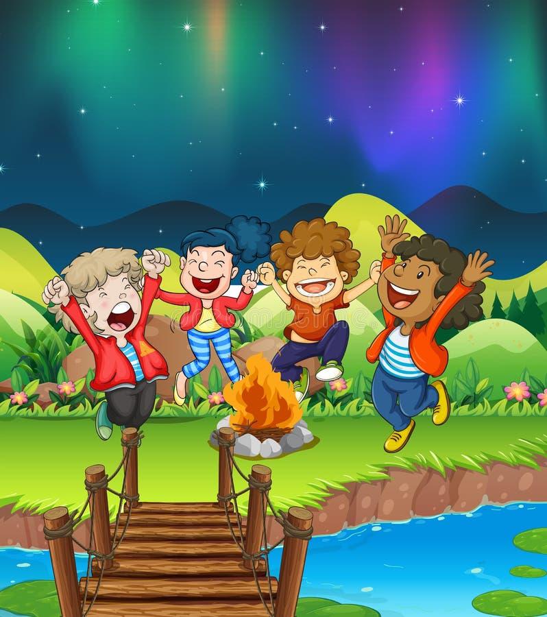 Enfants campant par la rivière illustration libre de droits