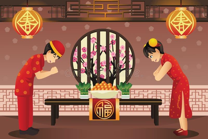 Enfants chinois célébrant de nouvelles années chinoises illustration de vecteur