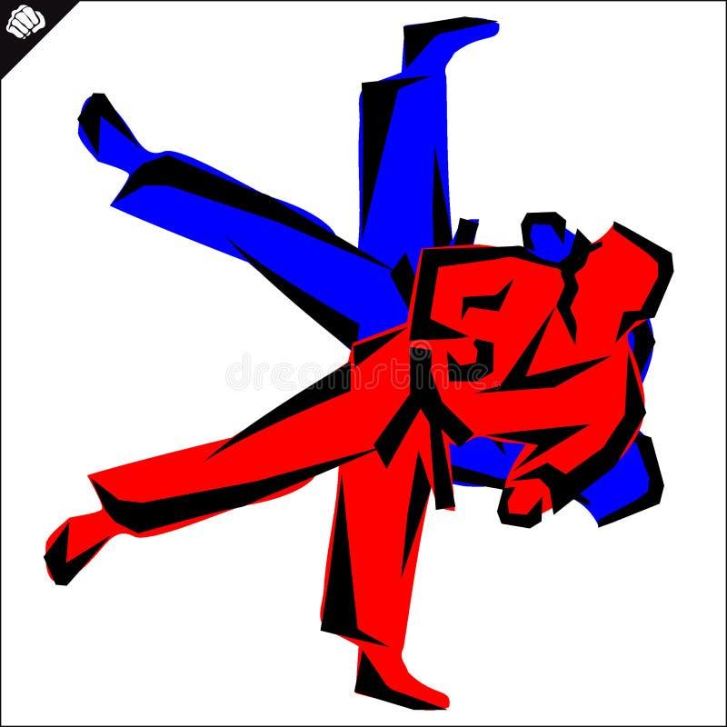 enfants chinois de KONGFU Les combattants de karaté silhouettent le vecteur ENV illustration de vecteur