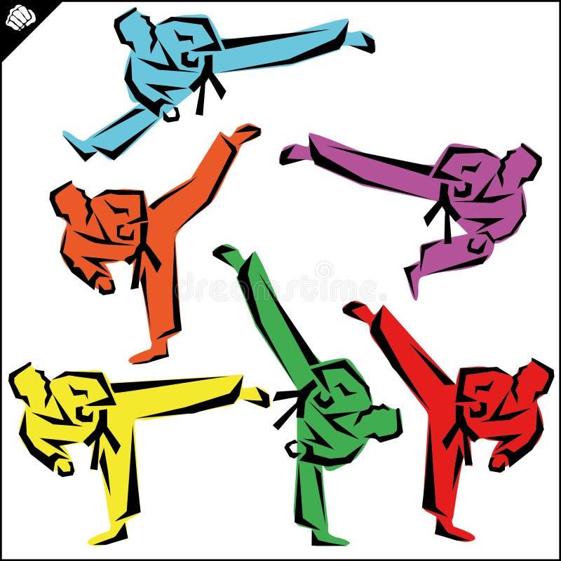 enfants chinois de KONGFU Les combattants de karaté silhouettent le vecteur ENV illustration stock