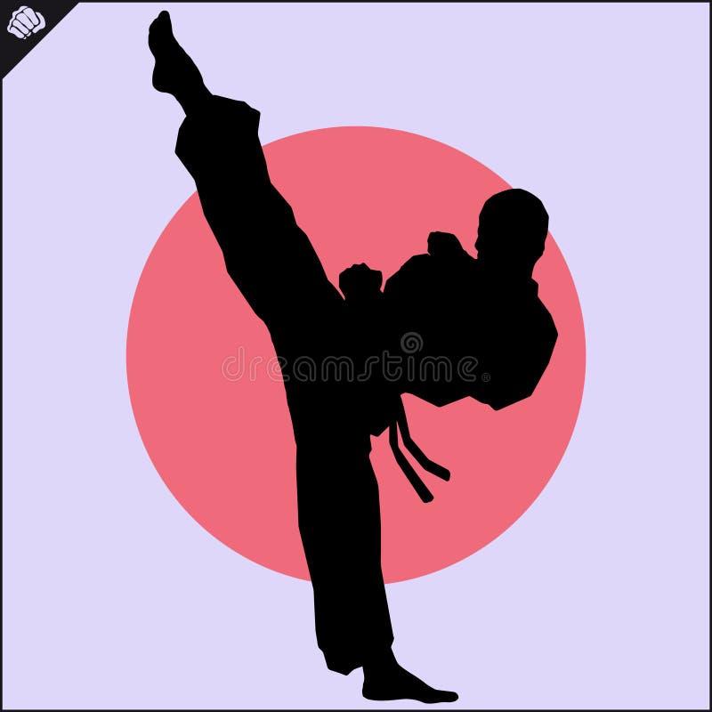 enfants chinois de KONGFU Scène de silhouette de combattant de karaté illustration libre de droits