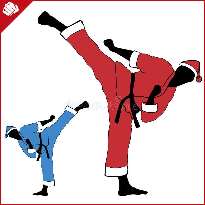 enfants chinois de KONGFU Vecteur de silhouette de combattants de karaté de nouvelle année ENV illustration stock