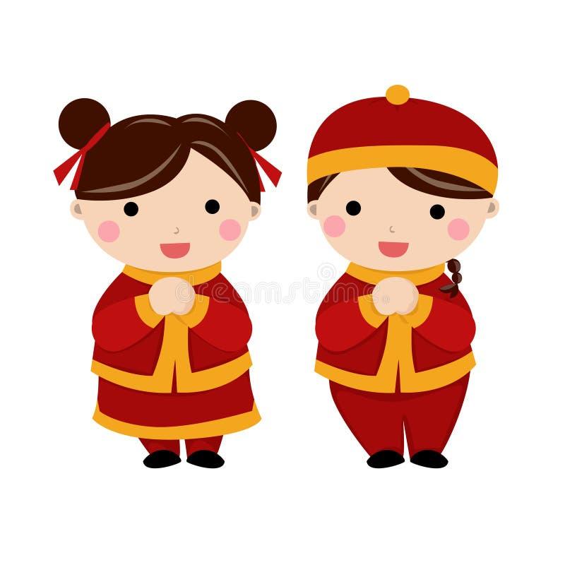 Enfants chinois de salutations de nouvelle année illustration stock