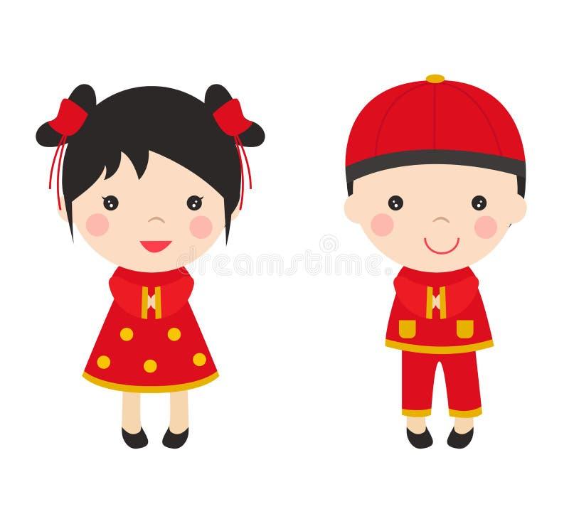 Enfants chinois de salutations de nouvelle année illustration de vecteur