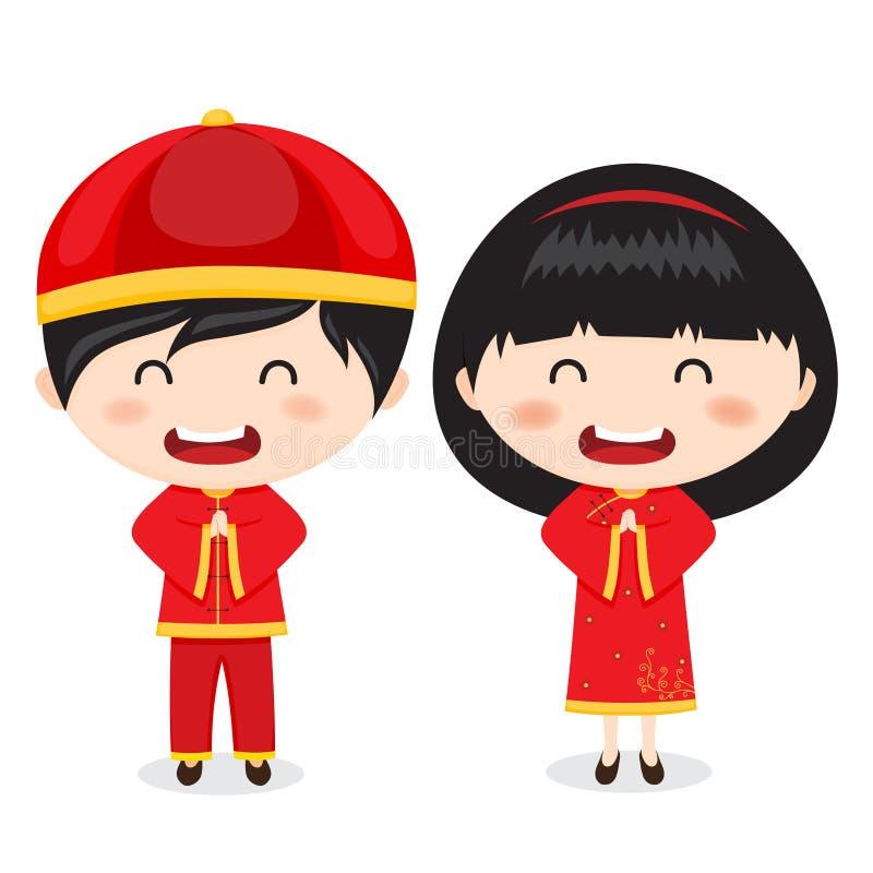 Enfants chinois de salutations de nouvelle année illustration libre de droits