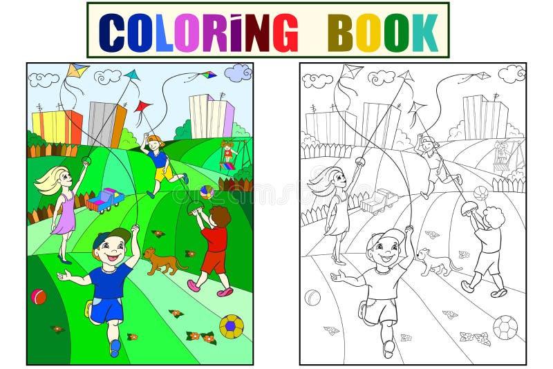 Enfants colorant, couleur, vol noir et blanc de cerf-volant de jeu illustration stock