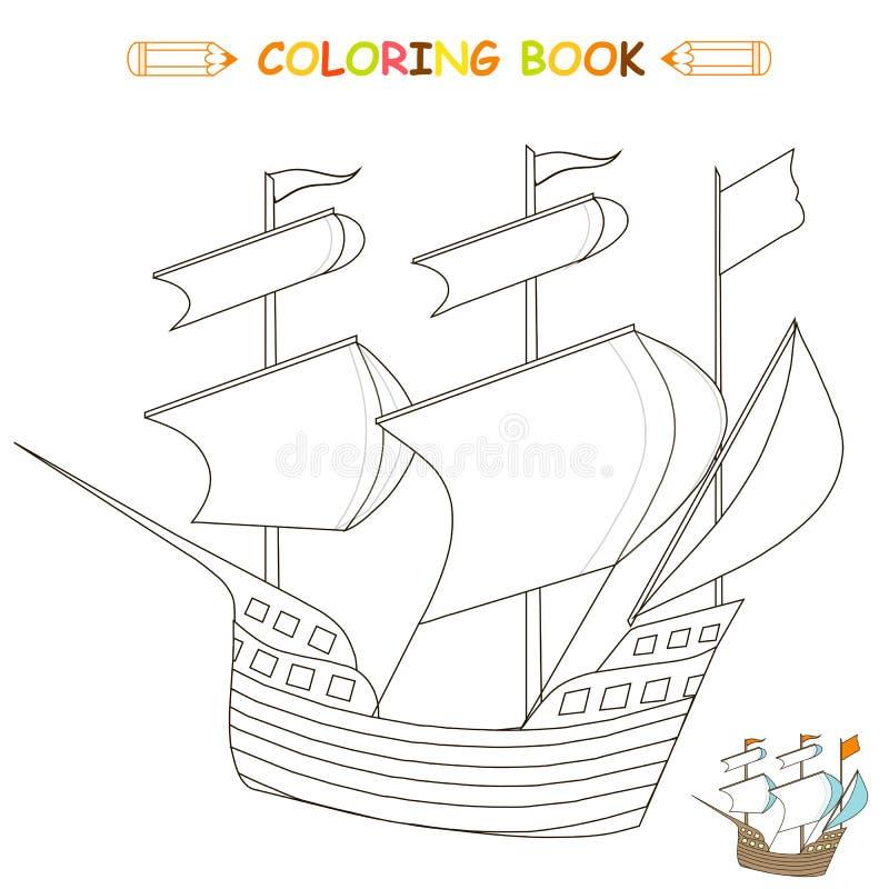 Enfants colorant l'illustration de vecteur de page, bateau, illustration de vecteur
