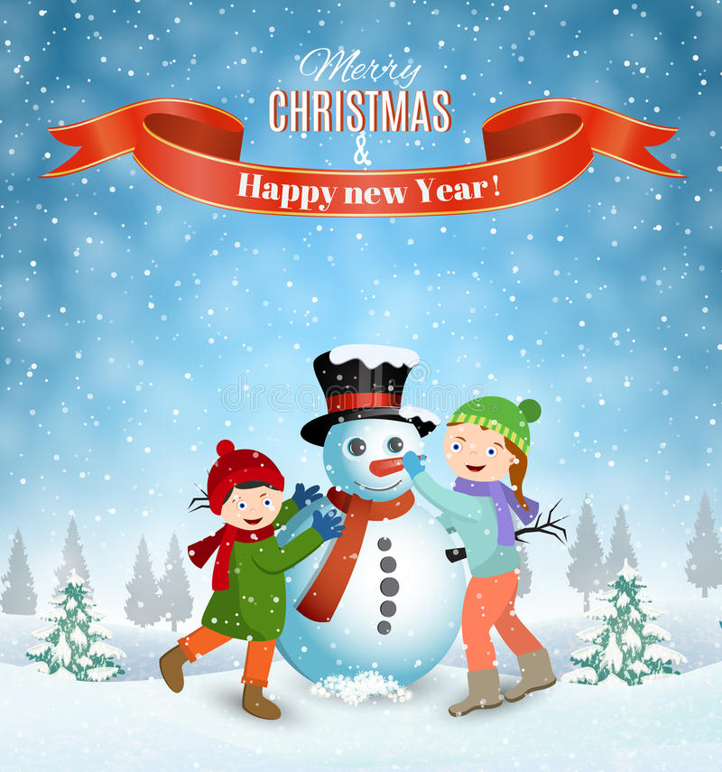 Enfants construisant le bonhomme de neige illustration libre de droits