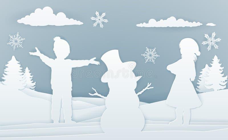 Enfants construisant le papier Art Style de bonhomme de neige illustration libre de droits