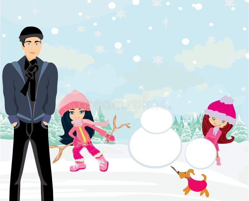 Enfants construisant un bonhomme de neige illustration libre de droits