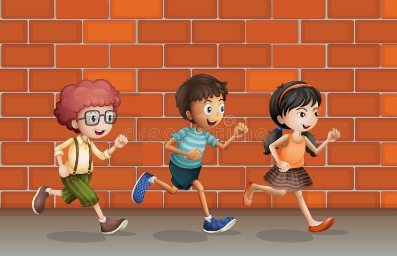 Enfants courant près du mur illustration libre de droits