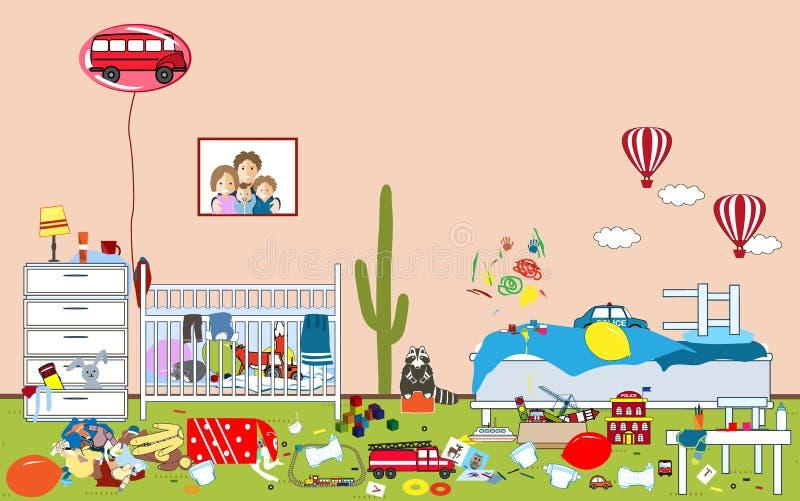 Enfants désordonnés et pièce malpropre Jouets et habillement dispersés par enfant Pièce où deux petits garçons vivent Désordre da illustration stock