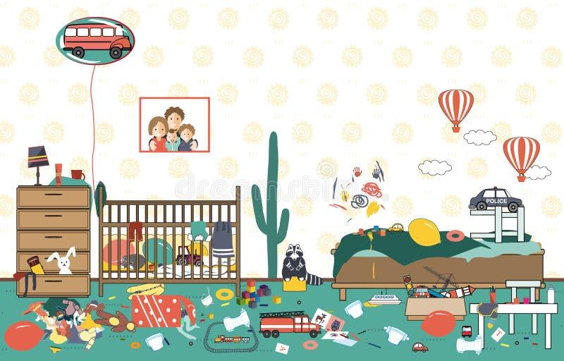 Enfants désordonnés et pièce malpropre Jouets et habillement dispersés par enfant Pièce où deux petits garçons vivent Désordre da illustration de vecteur
