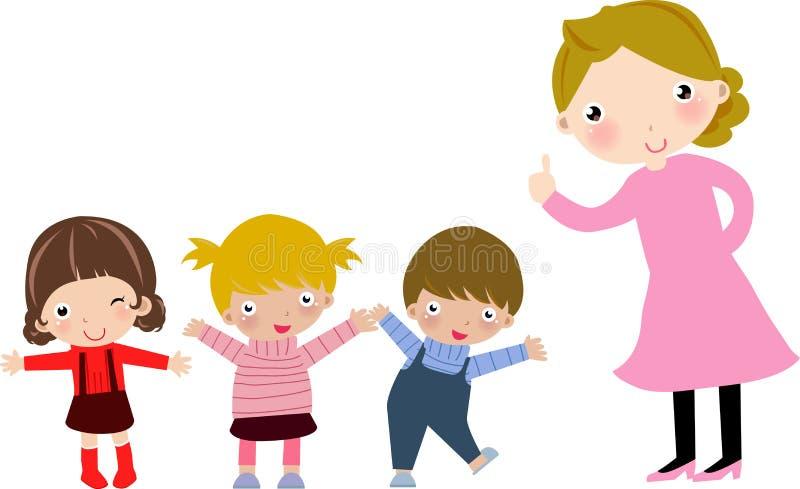 Enfants d'école après leur professeur illustration de vecteur