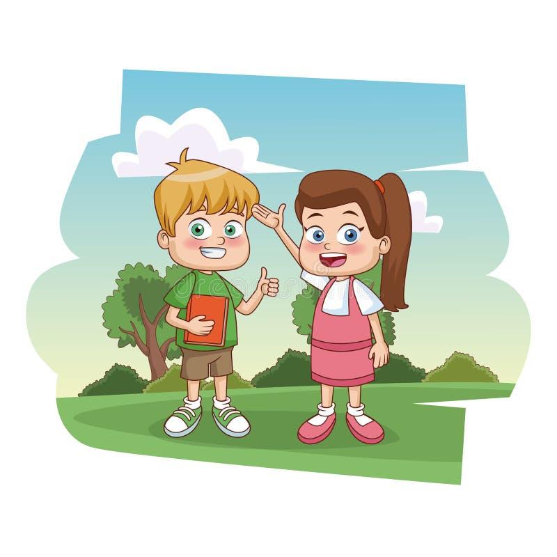 Enfants d'étudiants au parc illustration stock