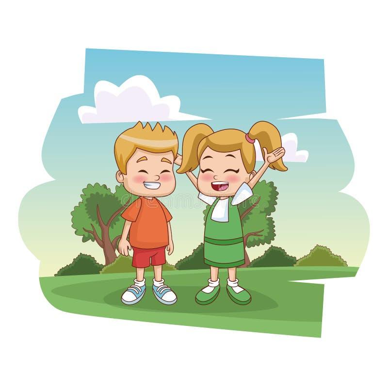 Enfants d'étudiants au parc illustration de vecteur