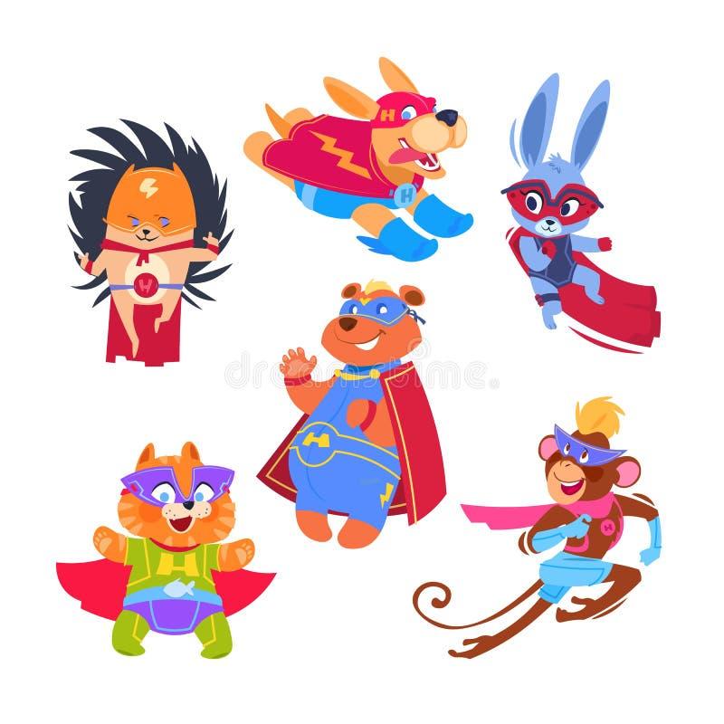 Enfants d'animal de super héros Animaux drôles utilisant des costumes de super héros Caractères de vecteur de Cosplay réglés illustration de vecteur