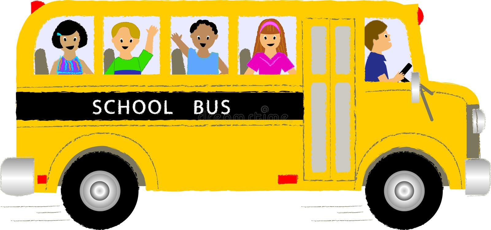 Enfants d'autobus scolaire illustration stock
