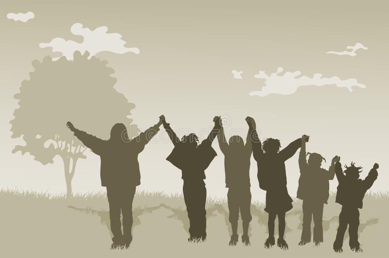 Enfants d'enfants avec des mains vers le haut illustration stock