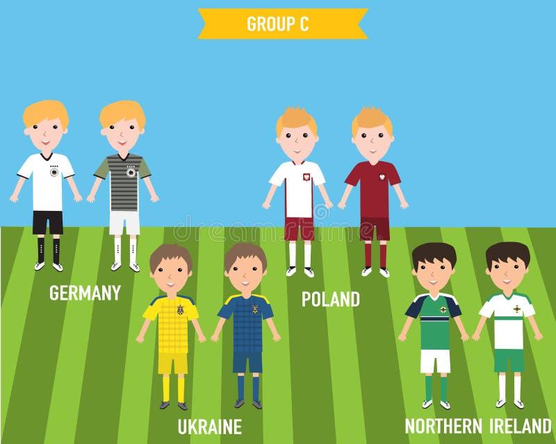 Enfants d'enfants dans la maison et uniforme parti de débardeur dans l'EURO 201 de Frances illustration libre de droits