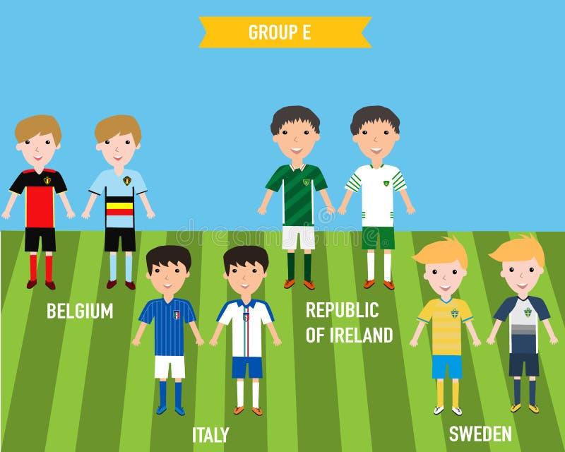 Enfants d'enfants dans la maison et uniforme parti de débardeur dans l'EURO 201 de Frances illustration de vecteur