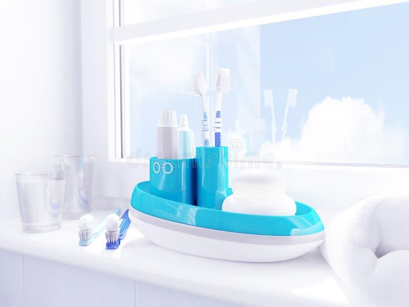 Enfants d'hygiène de matin Des brosses à dents, pâte dentifrice, savon, serviette sont situées sur un filon-couche de fenêtre photographie stock