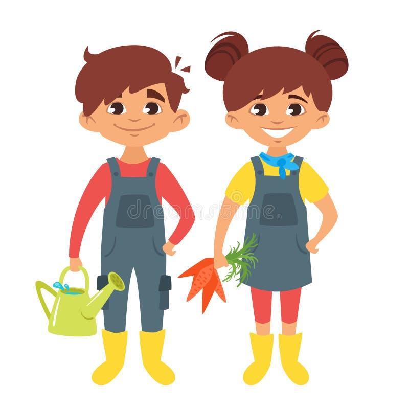 Enfants dans des costumes de ferme illustration de vecteur