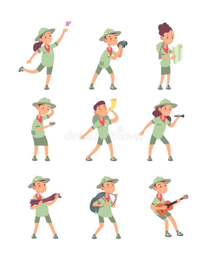 Enfants dans des costumes de scout Les jeunes garçons et filles de scouts ont l'aventure dans la colonie de vacances Les enfants  illustration libre de droits