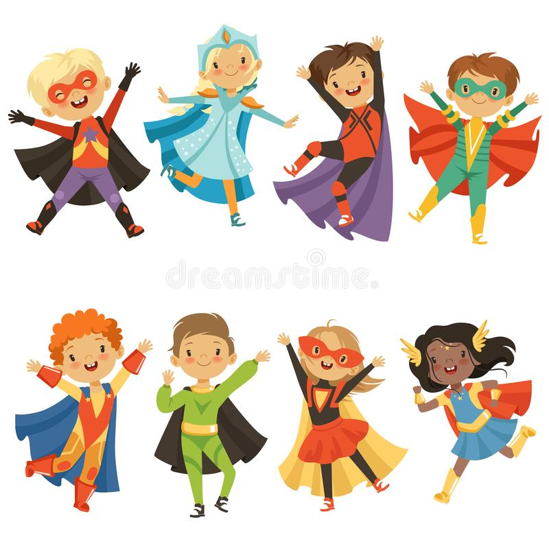 Enfants dans des costumes de super héros Isolat drôle de caractères sur le fond blanc illustration stock