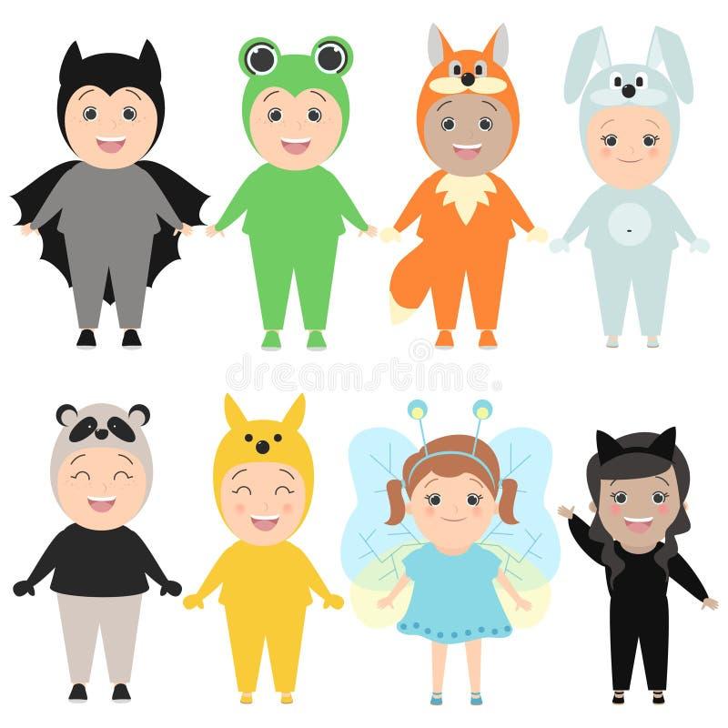 Enfants dans des costumes des animaux Costumes de carnaval, lièvres, renard, b illustration de vecteur