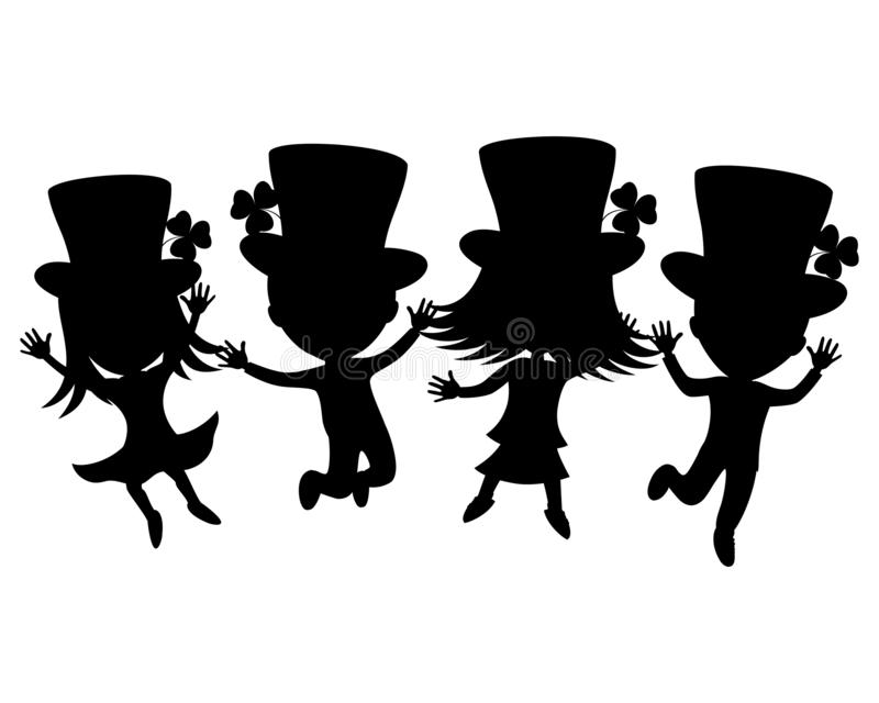 Enfants dans des costumes pour le jour de St Patrick illustration libre de droits