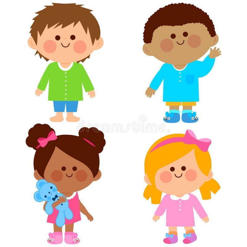 Enfants dans des pyjamas Illustration de vecteur illustration libre de droits