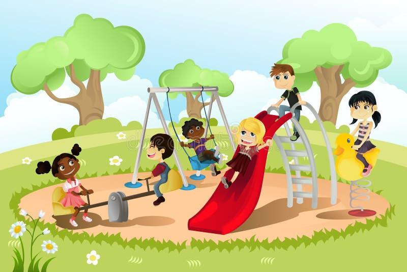 Enfants dans la cour de jeu illustration stock