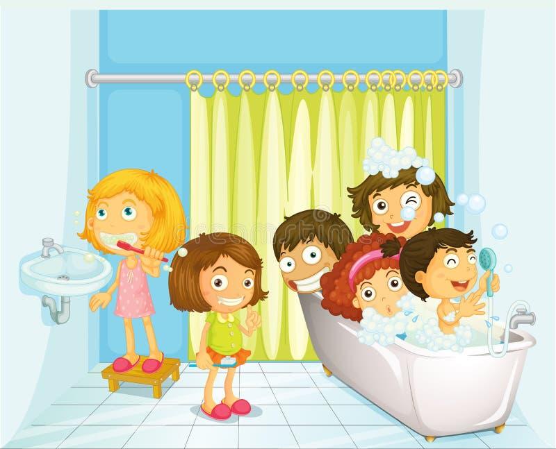 Enfants dans la salle de bains illustration de vecteur