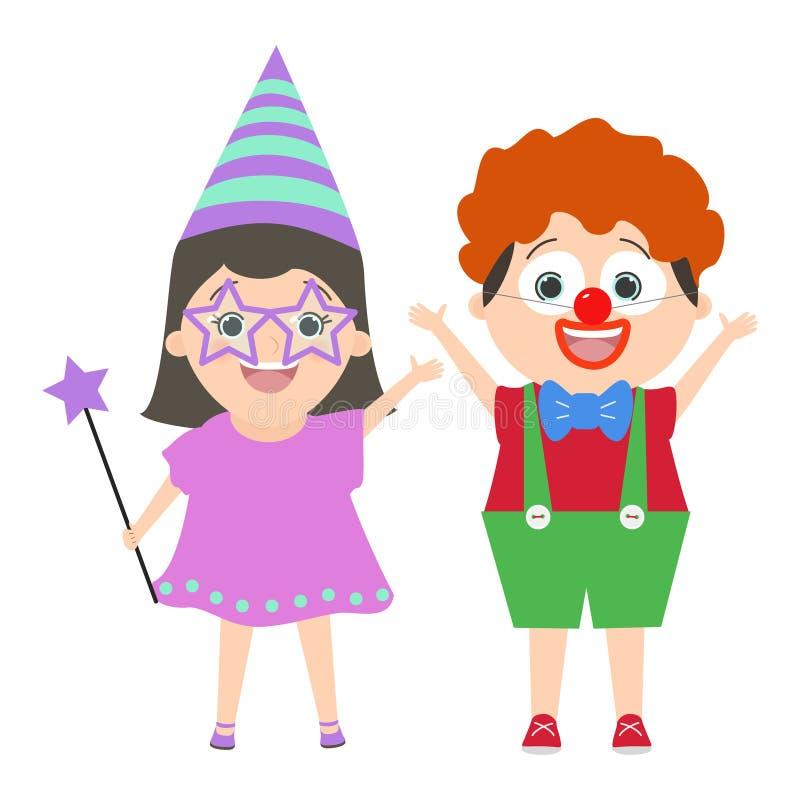 Enfants dans le costume de clown de carnaval et une bande dessinée juste de vecteur illustration libre de droits