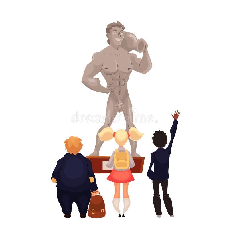 Enfants dans le musée regardant une sculpture illustration de vecteur
