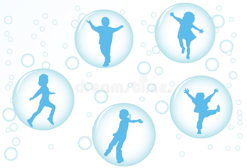 Enfants dans les bulles illustration stock