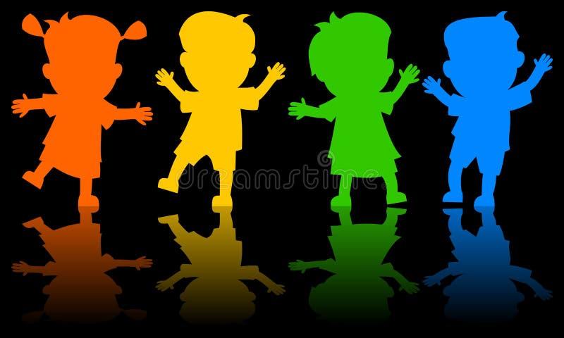 Enfants dansant des silhouettes illustration de vecteur