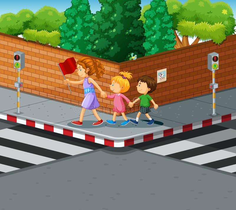 Enfants de aide de femme traversant la rue illustration stock