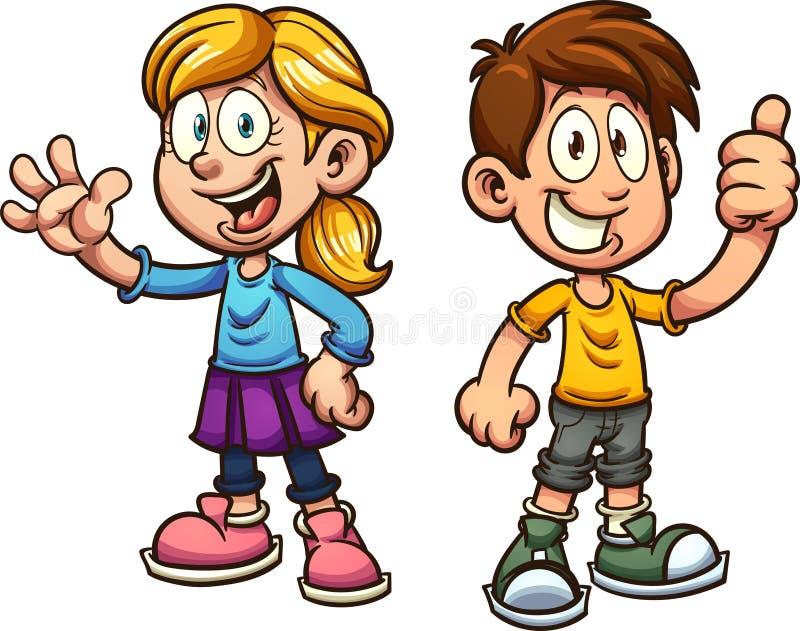 Enfants de bande dessinée illustration de vecteur