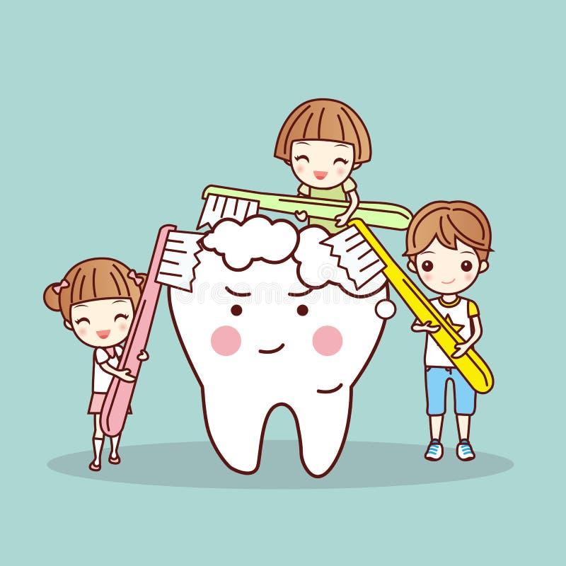 Enfants de bande dessinée brossant la dent blanche illustration libre de droits