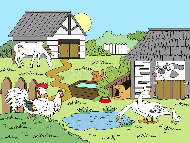 Enfants de bande dessinée colorant l'illustration de vecteur illustration libre de droits